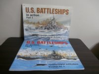 U.S.BATTLESHIPS in action part1、part2 の2冊(米戦艦写真集)